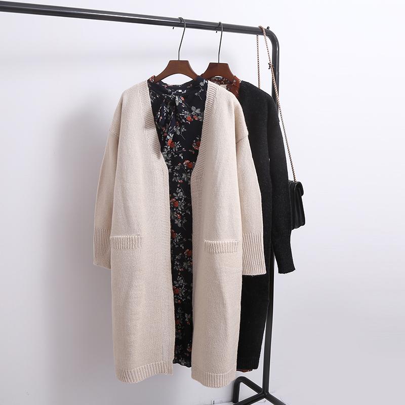 Hàn Quốc phiên bản của áo len đan áo len của phụ nữ mùa xuân và mùa thu phần dài 2018 mới hoang dã mùa xuân và mùa thu áo là mỏng lỏng thủy triều dày