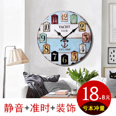 European wall clock living room mute creative personality wall clock modern minimalist bedroom wall charts retro clocks home clock