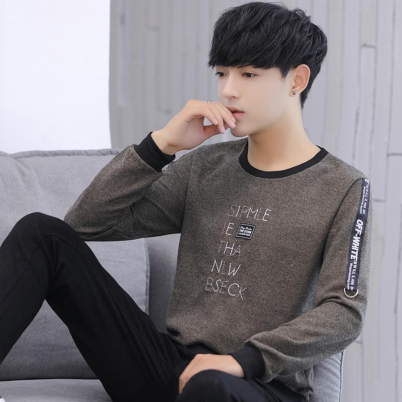 男士长袖t恤2018新款秋季韩版性学生体恤潮流上衣服青年卫衣男装
