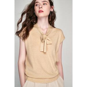 [MLEZT278] hoa nhài thanh lịch màu mới vào vàng và bạc lụa V-cổ tie với vai tay áo dệt kim tay áo ngắn