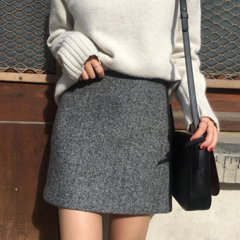 Короткие юбки осенние и зимние женщины высокой талии 2017 новые серые шерстяные юбки юбки юбки корейской версии слова юбка зимняя юбка