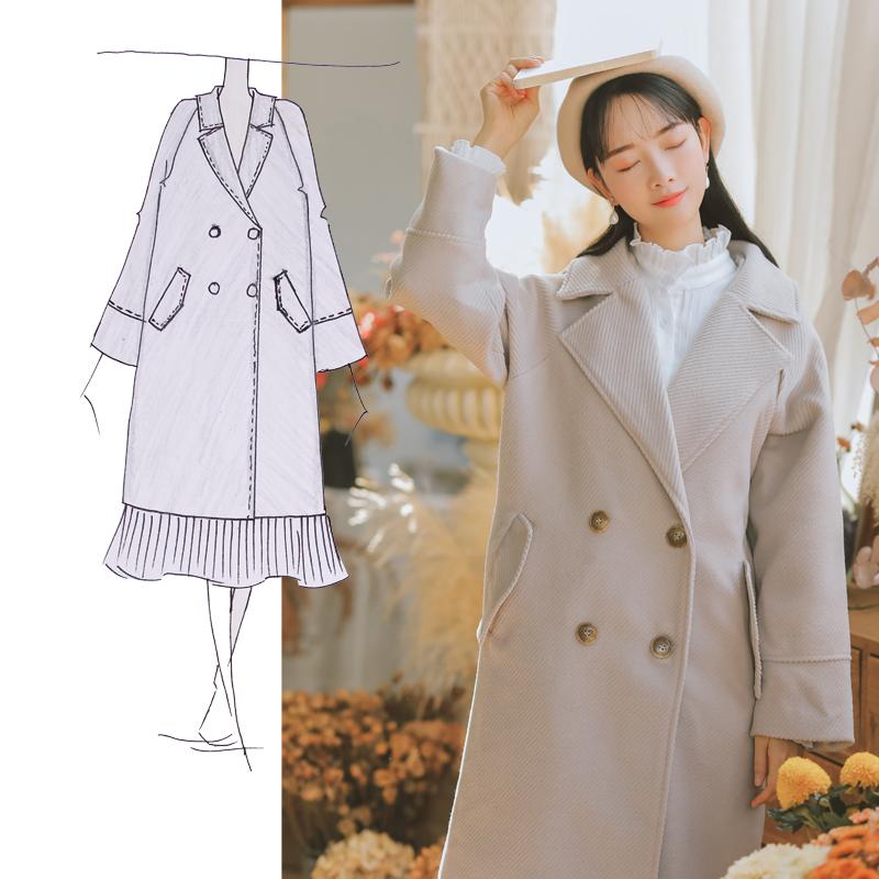 【8238#特价】现货,不起球本风毛呢外套中长款韩版秋冬季