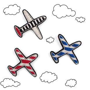 手工印度丝刺绣小飞机胸针徽章