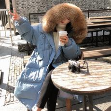 棉服女2018新款韩版宽松中长款大毛领过膝棉衣学生冬季外套棉袄