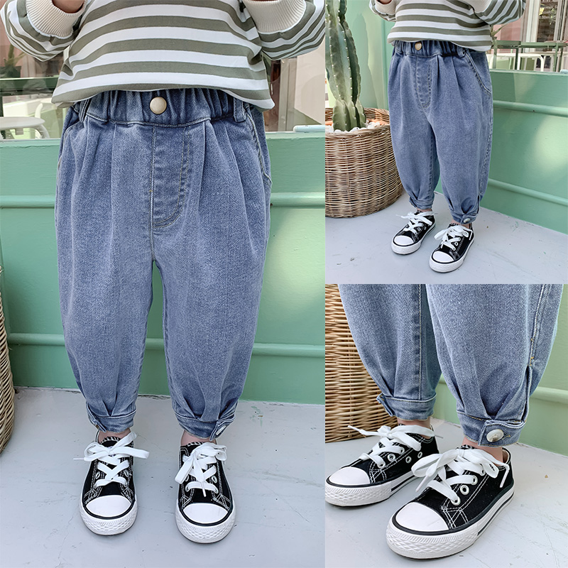 Quần cotton bé trai lớp nhỏ quần bé xuân hè Thu Đông phiên bản Hàn Quốc năm 2020 mới vừa và nhỏ quần jean kiểu nước ngoài quần áo trẻ em - Quần