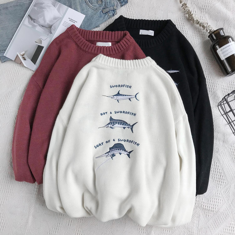 Hồng Kông IT thương hiệu mới áo len chất béo thường mặc áo len nam cộng với chất béo cộng với áo len rộng kích cỡ quần áo nam Hàn Quốc - Cardigan