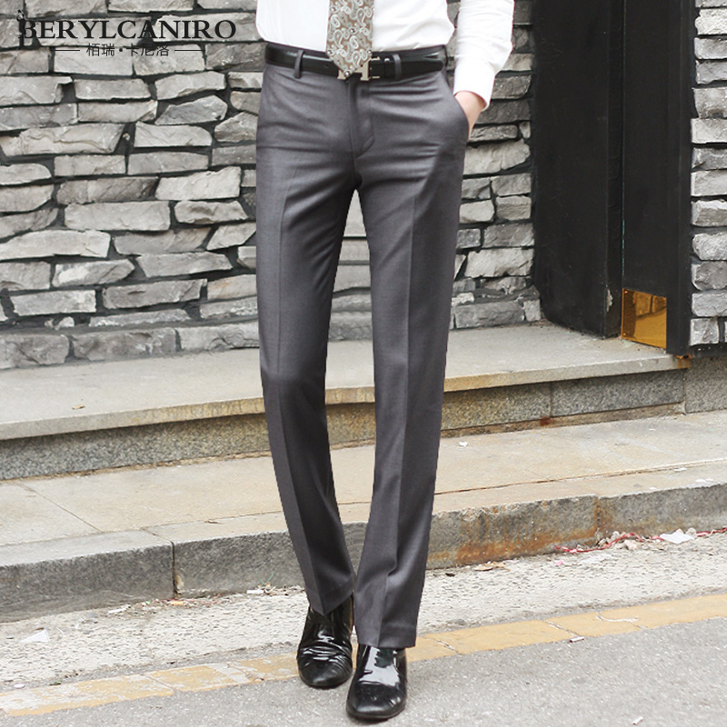 Spring and autumn new mens grey trousers mens slim Korean business formal wear non iron trousers long trousers new mens trousers