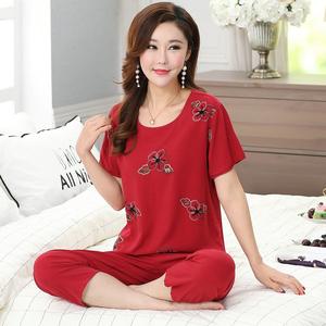 中老年纯棉绸睡衣女夏季高档刺绣妈妈薄款绵绸短袖红色家居服套装