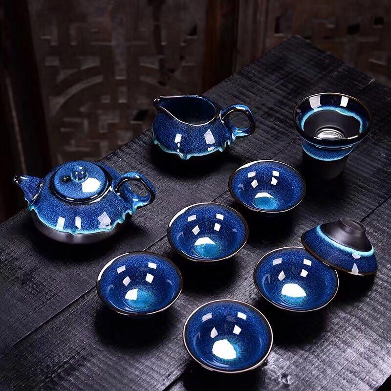抖音同款:钧窑建盏茶具陶瓷套装