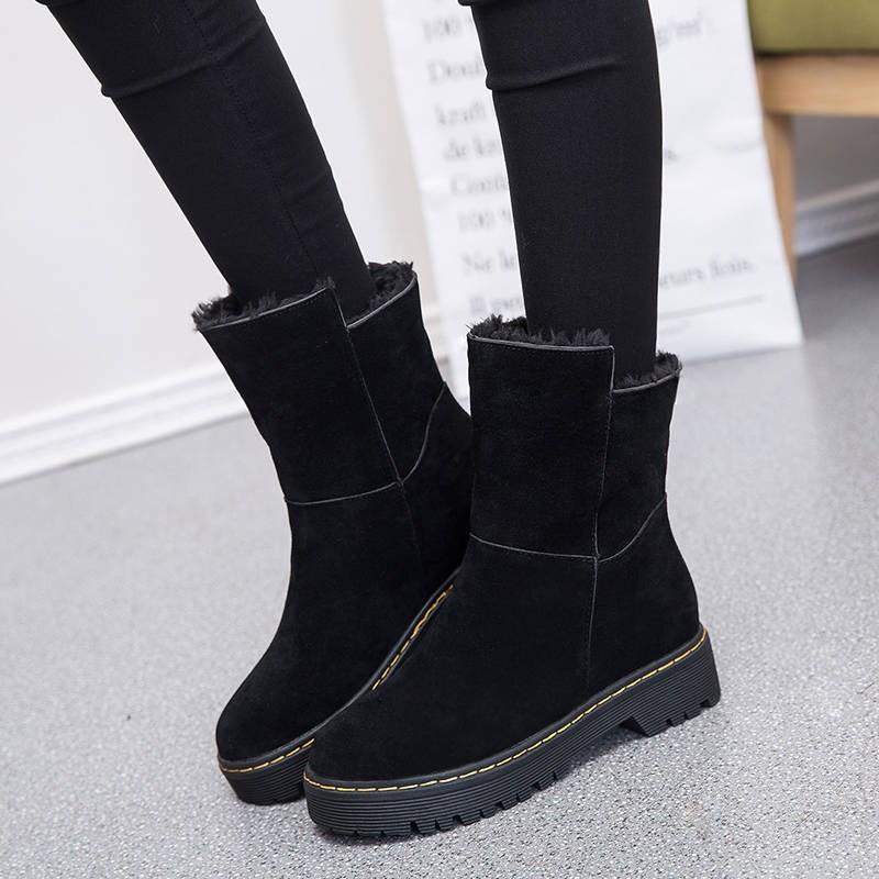 雪地靴女2019新款時尚皮毛一體加絨加厚棉鞋女冬季防水防滑短靴子
