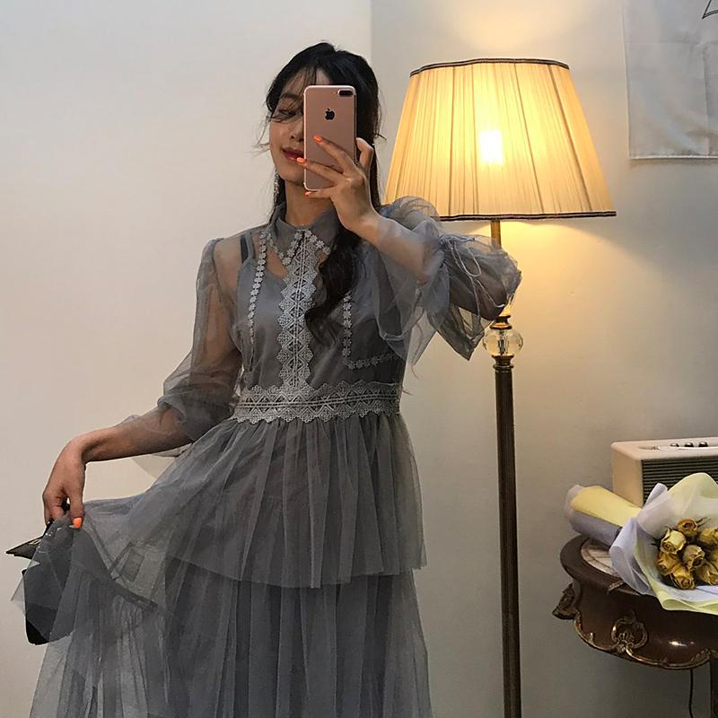 2019早春 ins推荐款 网纱连衣裙修身显瘦过膝打底吊带套装裙#9251