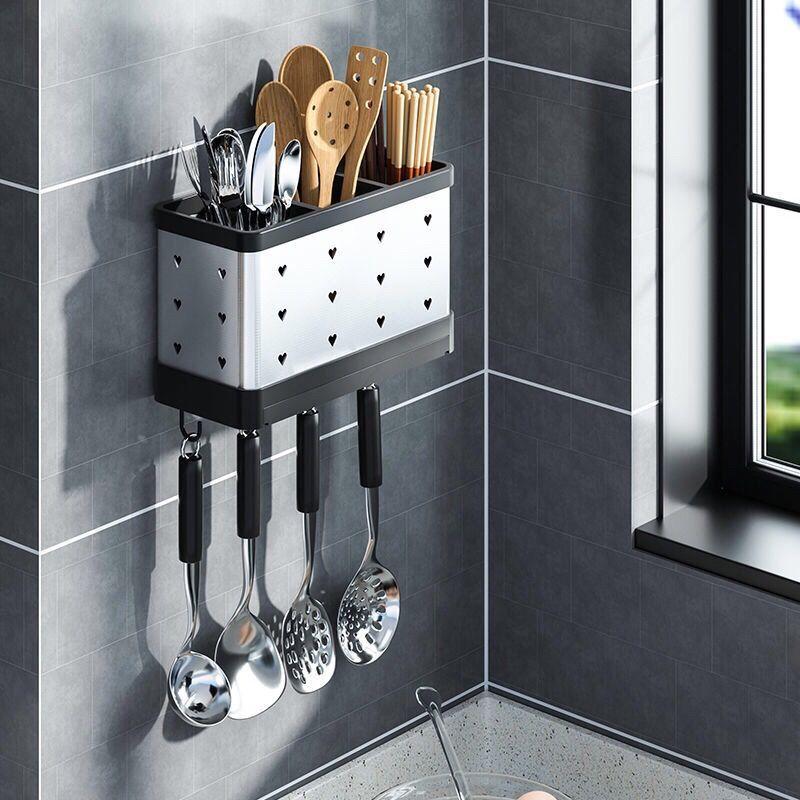 免打孔厨房筷子筒壁挂式不锈钢置�K物架家用沥水餐具收纳盒筷子笼篓