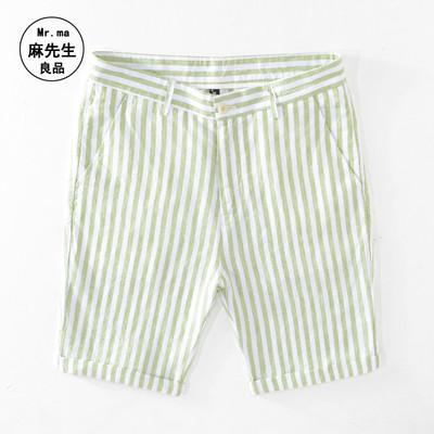 Mùa hè mỏng lanh quần short giản dị nam quần mỏng bãi biển cotton và vải lanh sọc thẳng quần năm điểm trẻ trung phiên bản Hàn Quốc - Quần short