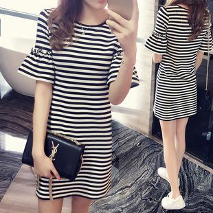 韩版黑白条纹短袖连衣裙潮