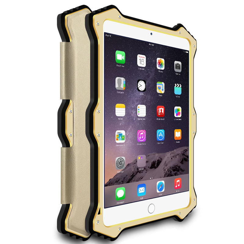 LOVE MEI MK2 Gorilla Glass Aluminum Metal Hybrid Shockproof Smart Awakening Flip Leather Case Cover for Apple iPad mini 4/3/2/1