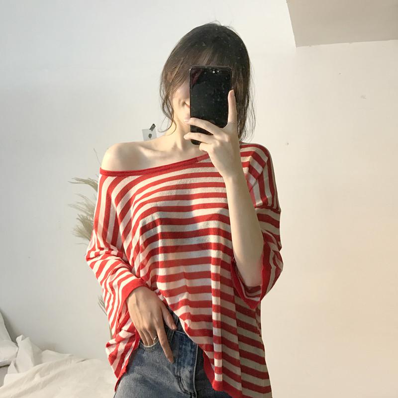 Mùa hè mới retro sọc bảy- điểm tay áo t- shirt nữ Hàn Quốc phiên bản của lỏng hoang dã mỏng áo len áo len điều hòa không khí áo sơ mi hàng đầu