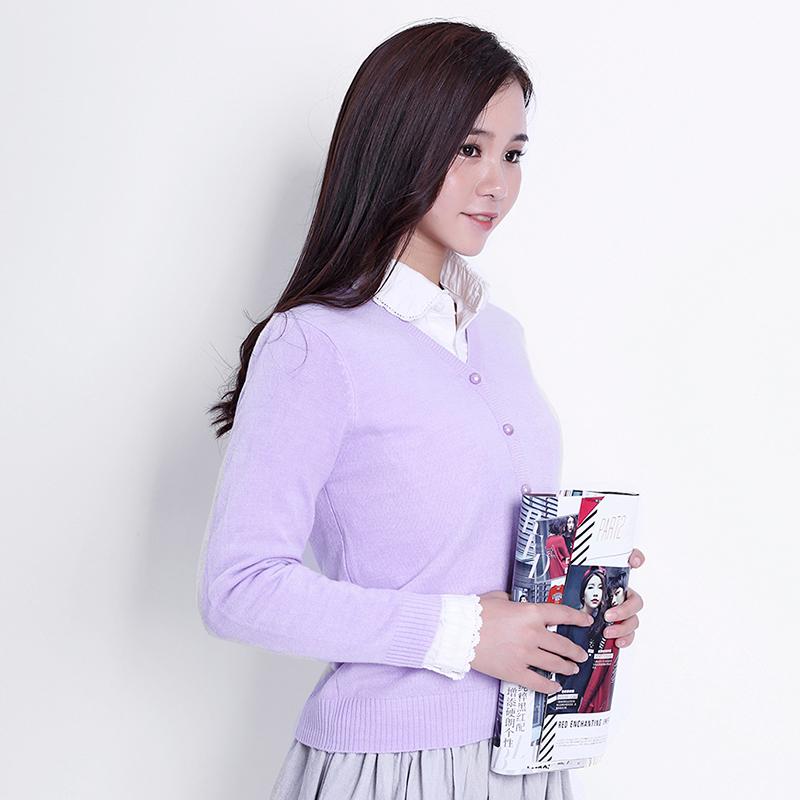 纯色棉线针织开衫