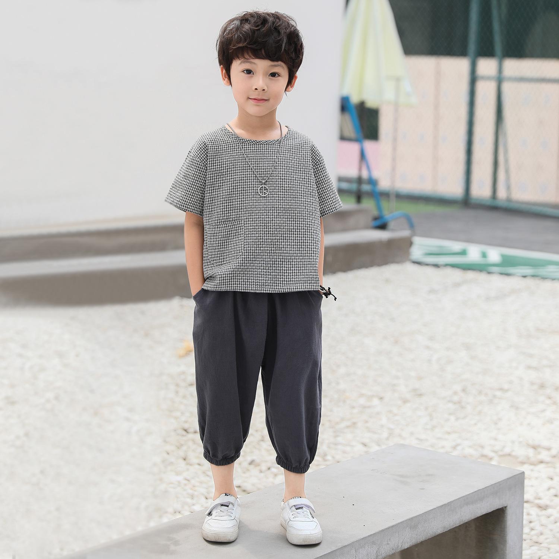 TZ03/P40童装男童短袖T恤中大童麻棉套装新款半袖潮儿童T恤男黑色