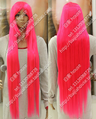 taobao agent Cos wig fluorescent pink 100cm bright pink 1 meter long straight hair Yujie cover performance stage wig