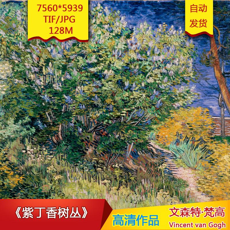 《紫丁香树丛》梵高作品7560X5939像素高清油画