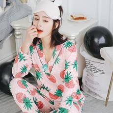 859新品长袖纯棉韩版睡衣女可爱卡通V领菠萝修身全棉家居服套装