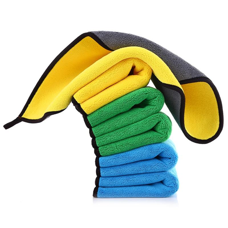 汽车用美容加厚珊瑚绒双面擦车巾洗车抛光毛巾不掉毛多功能2条装
