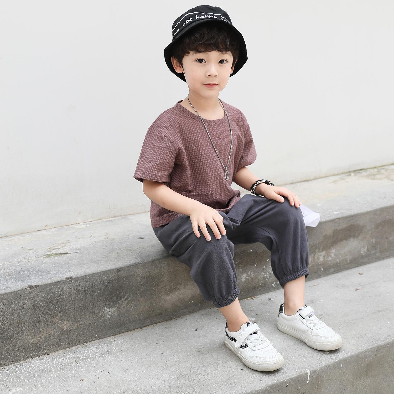 TZ03/P40童装男童短袖T恤中大童麻棉套装新款半袖潮儿童T恤男咖啡