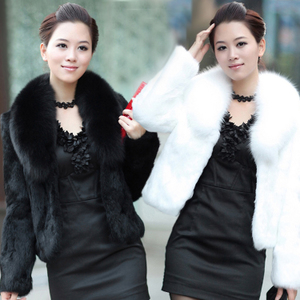 2018 giả lông thú áo khoác nữ mùa thu và mùa đông mới thỏ tóc Slim ngắn fur fox fur collar coat chống-giải phóng mặt bằng mùa