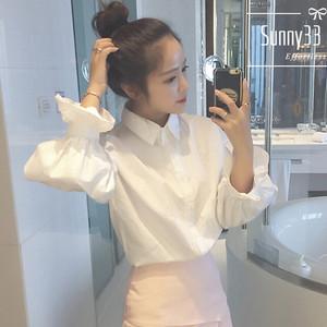 Dài tay áo sơ mi trắng nữ phun tay áo sơ mi trắng nữ 2017 mùa xuân và mùa hè nhỏ tươi mỏng lỏng sinh viên áo sơ mi nữ