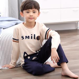 空调服春秋款纯棉男童长袖睡衣卡通夏季薄款中大童儿童家居服套装