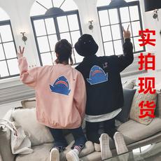 【实拍现货】#703#杨杨家2018春季新款夹克男士情侣装鲨鱼bf外套