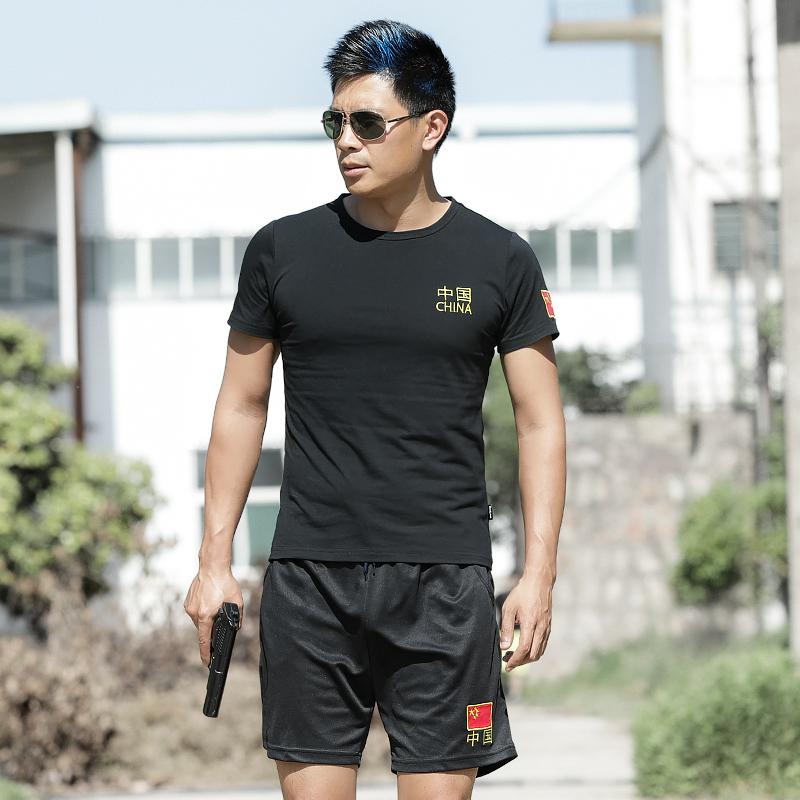 Quân đội ngoài trời nguồn cung cấp quạt quần áo ngắn tay cổ tròn Trung Quốc T-Shirt cotton chặt chẽ-phù hợp đàn hồi hình mồ hôi thấm thở