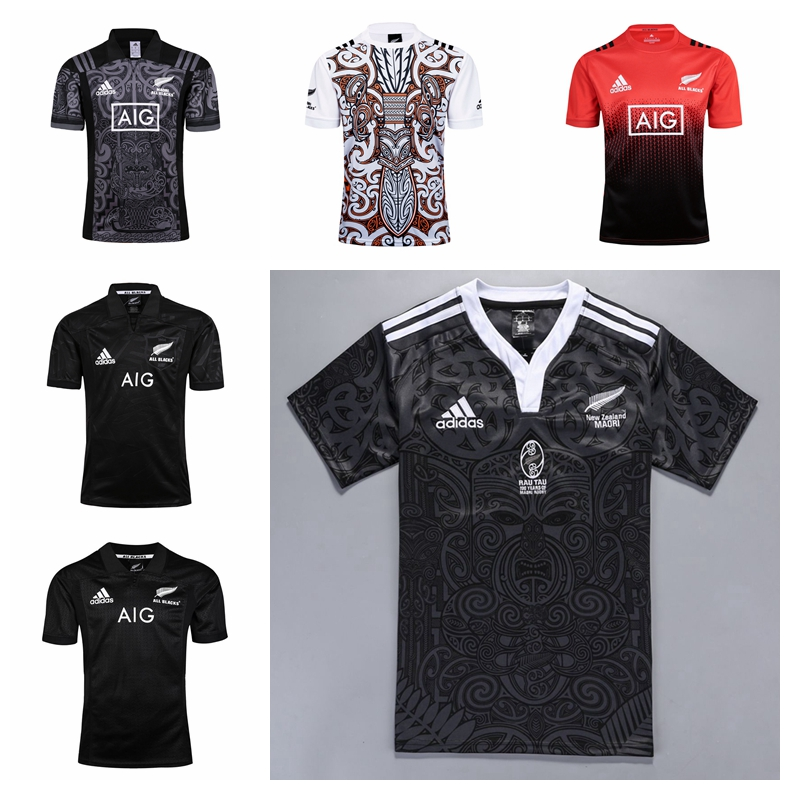 Rugby quần áo 18 New Zealand tất cả các màu đen Maori đội maori tất cả người da đen rugby jersey