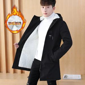 Mùa đông áo khoác nam cotton coat phần dài Hàn Quốc phiên bản của bông áo khoác cộng với nhung dày xu hướng đẹp trai mùa đông nam xuống áo khoác