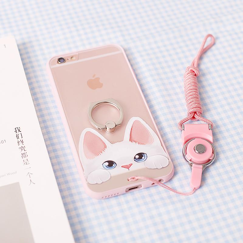 苹果iPhone8手机壳6s plus硅胶猫咪指环支架挂绳浮雕外壳5.5软套7