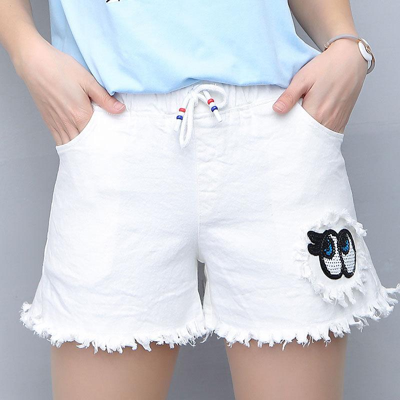 短裤女2017显瘦弹力棉牛仔裤少女学生直筒白色热裤毛边休闲打底裤
