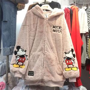 KAKAMEE韩国刺绣米奇耳朵大兔毛茸茸加厚宽松卫衣外套开衫女