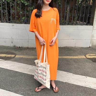 (实拍)韩版宽松短袖长款开叉连衣裙女字母印花学生体恤裙子6119#