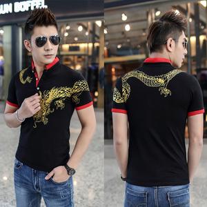 黑色红色有4XL  夏中国风潮男士T恤短袖烫金霸气纹身龙图案  8214