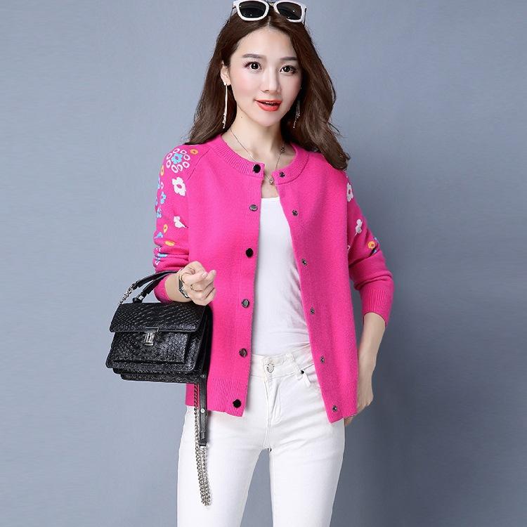 Áo len mới áo len của phụ nữ vòng cổ áo sơ mi nữ đoạn ngắn mùa xuân và mùa thu thêu đáy áo loose thể thao dài tay áo len