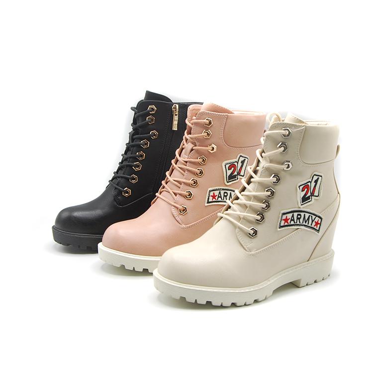 卓诗尼短靴女靴子女棉靴加绒里中筒靴坡跟内增高舒适164174852