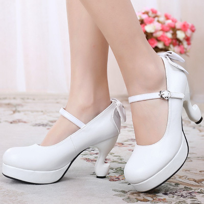 taobao agent Lolita tea party round toe simple table feet high heel small leather shoes