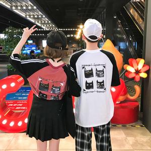 炒鸡好看 2018夏款港风情侣短袖体恤男士班服 电商B212-KT206-P35