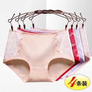 实拍性感中腰莫代尔内裤女 4条装舒适透气蕾丝花边青年三角裤088