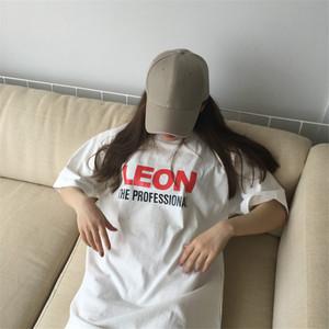 官网夏季韩版宽松学生简约连衣裙红色字母印花短袖中长款T恤女