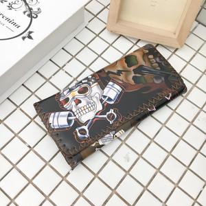 原宿骷髅潮人3D喷绘印花男女士长款三折钱包钱夹皮夹B419-Q56-P15