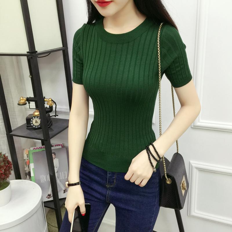 2018 mùa xuân và mùa hè phụ nữ mới của Hàn Quốc phiên bản của vòng cổ màu rắn hoang dã tự trồng giảm béo đan áo sơ mi ngắn tay