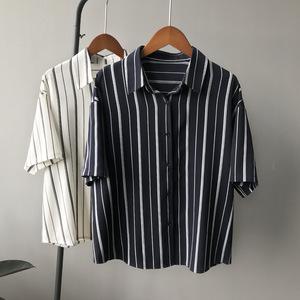 【ulzzang】2018夏装新款韩版学院英伦风短袖条纹雪纺衬衫女潮