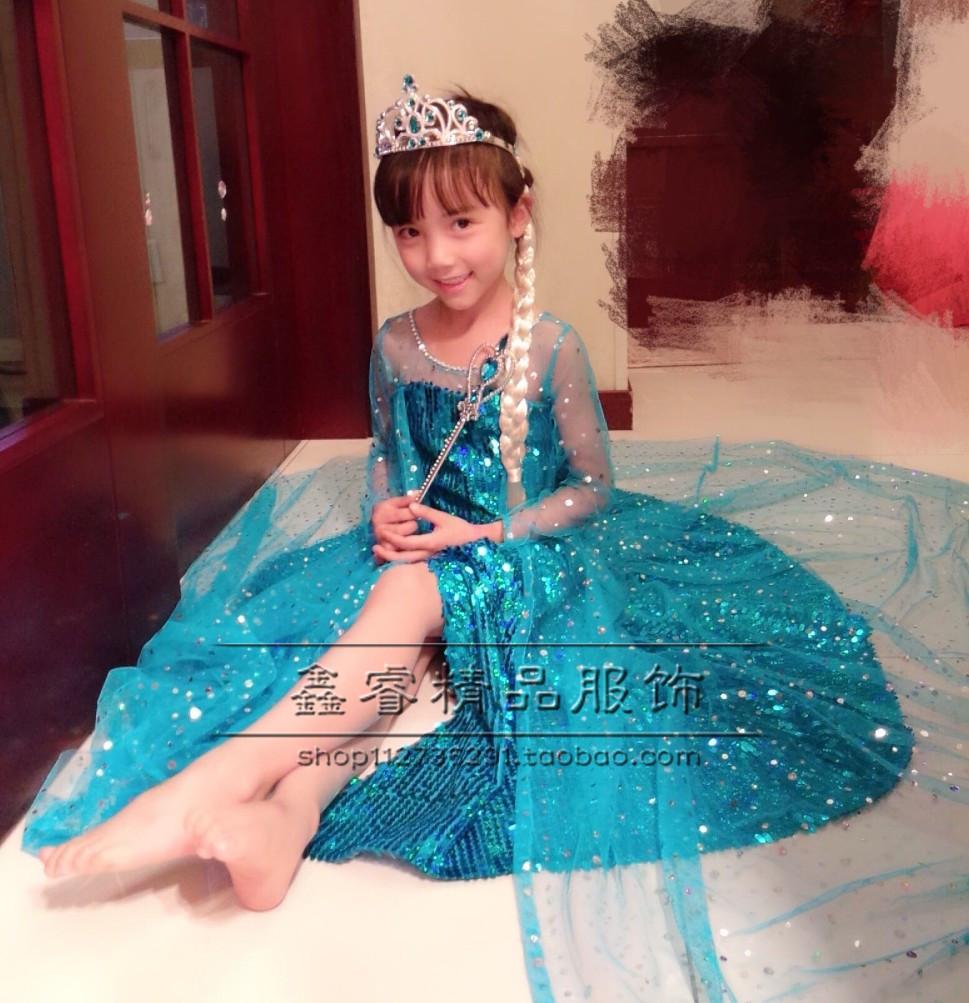 Ice Princess công chúa váy Aisha elsa Nữ Hoàng ăn mặc trẻ em ăn mặc Đông Lạnh Aisha cô gái công chúa váy