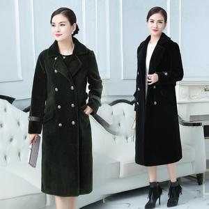 实拍 2017秋冬季海宁羊毛羊剪绒大衣女中长款反季皮草外套